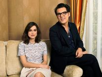"Wright and cast member Knightley pose for a portrait while promoting the upcoming movie ""Anna Karenina"" in Los Angeles"
