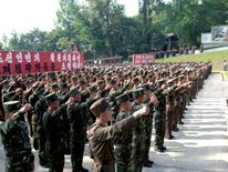 Service personnel from the Korean People's Army (KPA) attend a ceremony at the Sinchon Museum in South Hwanghae Province in this undated photo released by KCNA