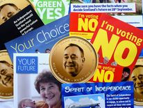 Scottish independence information leaflets are placed on a table
