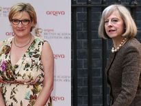 Theresa May and Sarah Millican