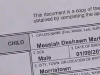 Messiah DeShawn Martin's birth certificate Pic: WBIR-TV