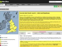 A weather alert posted on the Met Office's website.
