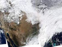 A composite Nasa satellite image of the snow blanketing the Eastern seaboard