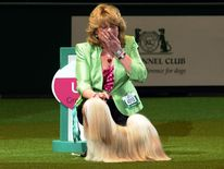 Dog owner Margaret Anderson and Elizabet at Crufts