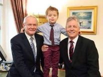 Oscar with First Minister Peter Robinson and Deputy First Minister Martin McGuinness