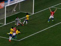 Brazil's Marcelo scores an own goal