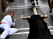 A runner falls in front of a Torrestrella fighting bull at the Estafeta corner during the first running of the bulls
