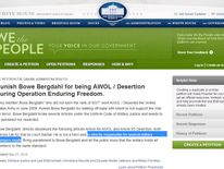 White House petition to punish Sgt Bowe Bergdahl