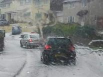 Hail storm in Boslowick, Falmout, Cornwall