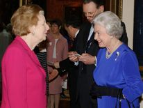 BRITAIN'S QUEEN ELIZABETH TALKS TO BARONESS THATCHER AT RECEPTION FOR WOMEN ACHIEVERS AT BUCKINGHAM ...