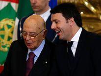 Matteo Renzi talks with Italian President Giorgio Napolitano during the swearing in ceremony in Rome