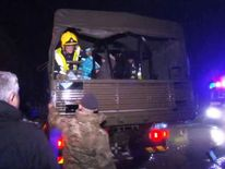 Army and emergency services during rescue