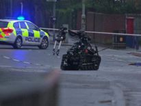 An rmy robot examines a suspect device in east Belfast