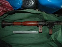 Police photo of rocket launcher seized in West Belfast