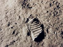 NASA file photo of one of the first footprints on the Moon