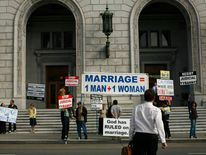 Supporters of Proposition 8 ban on gay marriage protest outside the California Supreme Court in San Francisco