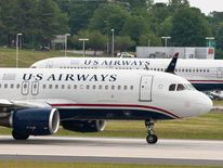 A US Airways jet prepares to take off