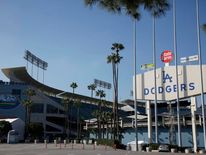 View of Dodger Stadium from parking lot