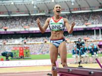 Britain's Jessica Ennis celebrates after her second jump in the women's heptathlon Group B long jump event during the London 2012 Olympic Games at the Olympic Stadium