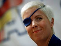 Marussia Formula One test driver Maria de Villota of Spain smiles during her news conference in Madrid