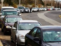 cars wait on line for gas on Staten Island