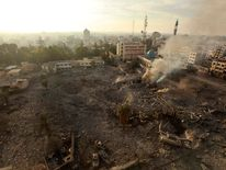 A general view of destroyed government offices is seen after what witnesses said was an Israeli air strike in Gaza City November 21, 2012.