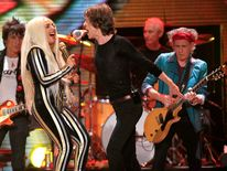 "The Rolling Stones and Lady Gaga perform onstage during the Rolling Stones final concert of their ""50 and Counting Tour"" in Newark"
