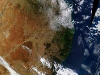 NASA satellite image of fires burning in southeastern Australia