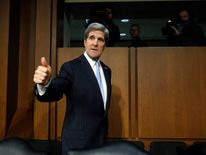 U.S. Senator Kerry departs after testifying at Senate Foreign Relations Committee confirmation hearing on Capitol Hill in Washington