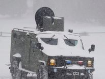 A Los Angeles county sheriff SWAT vehicle as the search continues for Christopher Dorner at the Bear Mountain ski resort at Big Bear Lake