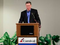 Carnival Cruise Lines President and Chief Executive Officer Gerry Cahill speaks about the Carnival Triumph in Miami