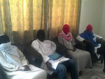 Members of Boko Haram splinter group attend a media conference in Maiduguri