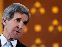 US Secretary of State John Kerry speaks during a joint news conference with Britain's Foreign Secretary William Hague.