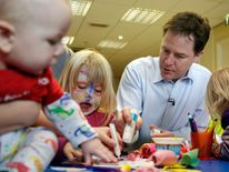 Nick Clegg at a creche in Brighton