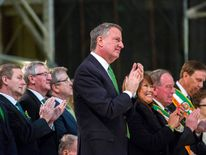 New York Mayor Bill de Blasio applauds as he listens to a service at Saint Patrick's Cathedral in New York