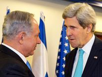 Israeli Prime Minister Benjamin Netanyahu meets with U.S. Secretary of State John Kerry as they meet in Jerusalem