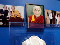 A portrait of the Dalai Lama, painted by former US President George W Bush