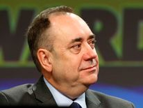 Scotland's First Minister Salmond listens to Deputy First Minister Sturgeon's speech at the SNP Spring Conference in Aberdeen, Scotland