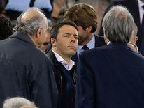 Italian Prime Minister Matteo Renzi stands on the tribune before the Italian Cup final