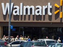 Police officers outside a Walmart store following a deadly shooting in Las Vegas