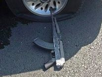 Handout photo released by the Stockton Police Department shows an assault rifle which police said was used in a bank robbery in Stockton, California