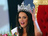 Miss Venezuela beauty pageant winner Monica Spear smiles as she is crowned.