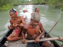 Traditional honey collectors row a boat during honey collection at Bali Island in the Sunderbans ...