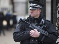 An armed police officer stands outside Horseguards on Whitehall in London