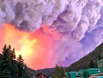 U.S. Forest Service photo shows fire rising over the West Fork Complex in Colorado
