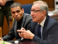 Singer Chris Brown and attorney Mark Geragos during a probation progress hearing in Los Angeles Superior Court