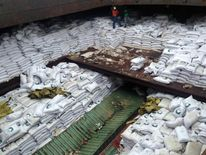 Bags of sugar on North Korean ship