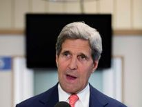 US Secretary of State John Kerry at the US Embassy in London