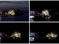 "A combination photo shows the capsized cruise liner Costa Concordia during and at the end of the ""parbuckling"" operation outside Giglio harbour"