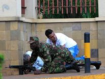 Soldiers at the scene of a terrorist attack on a shopping centre in Nairobi